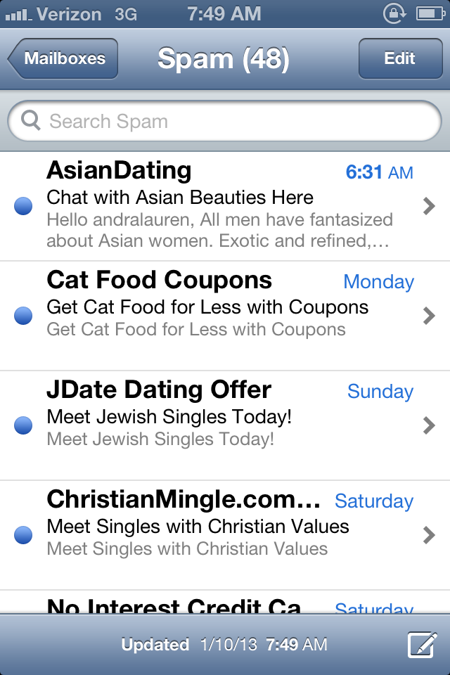 Why am i getting spam emails from dating sites
